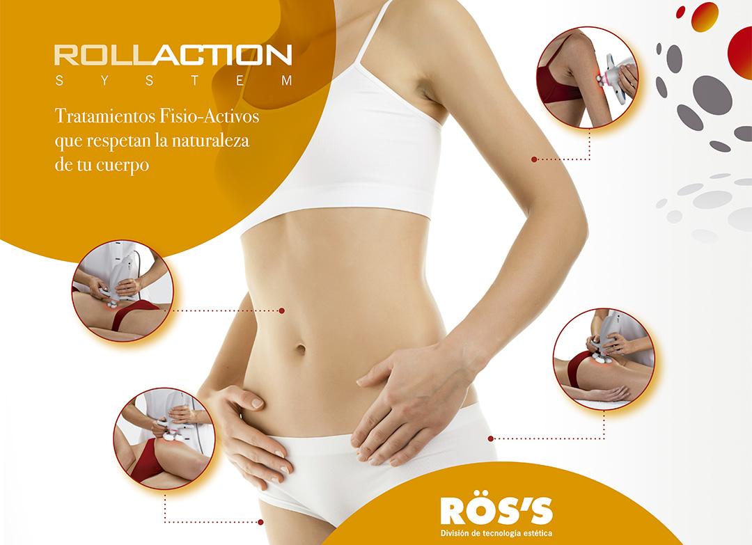 Imagen de mujer con zonas donde aplicar tratamientos fisio-activos Rollaction System